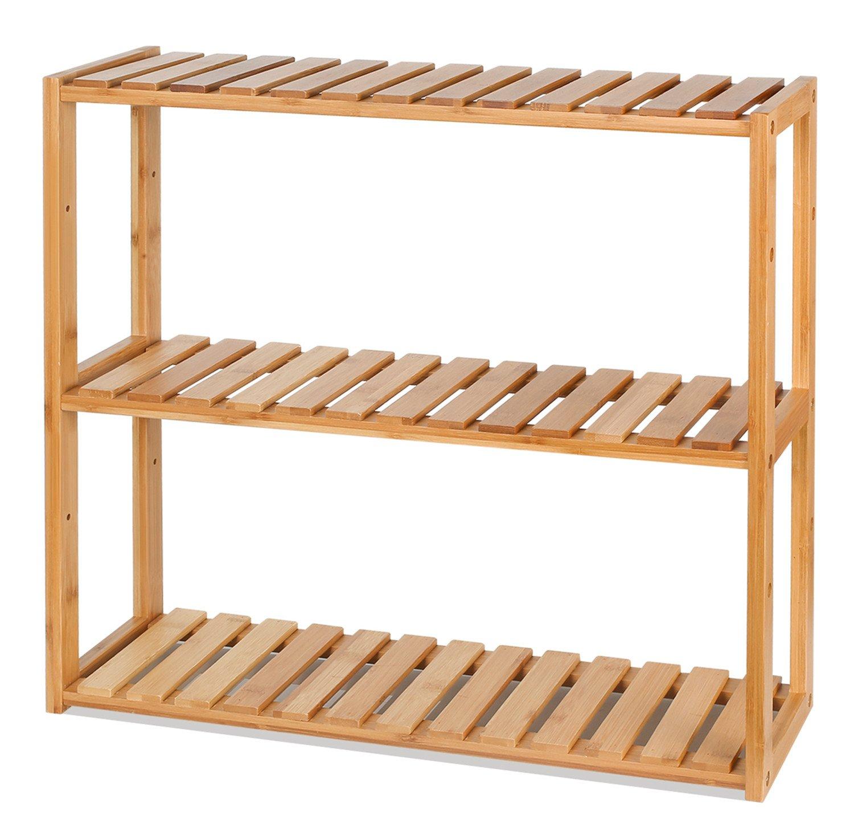 HOMFA DIY Estanteria Baño Pared Estantería de bambú Baño Sala o Cuarto con 3 niveles para