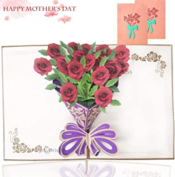Mother/'s Day Pop Up Card Roses 3D Handcrafted Special Unique Gift Card