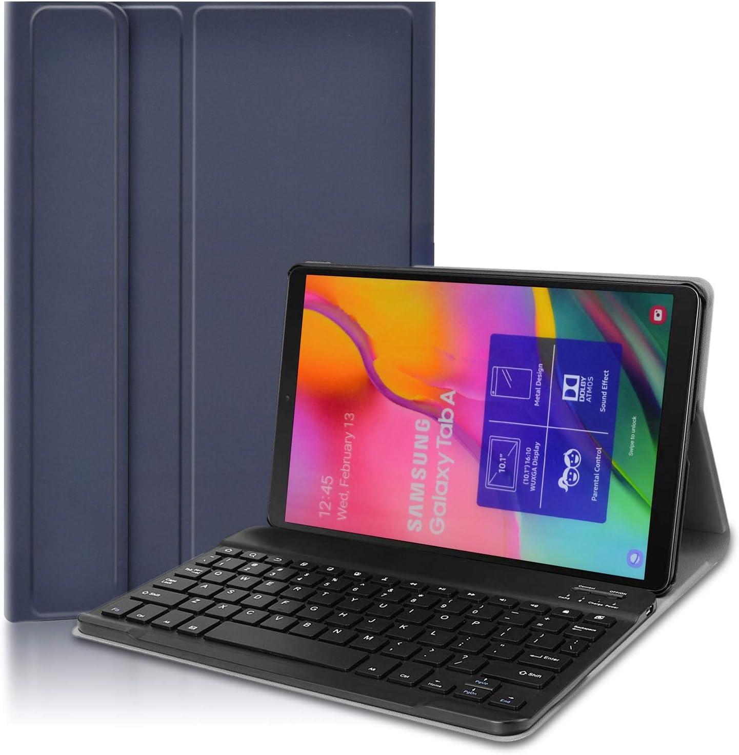 KILISON Samsung Galaxy Tab A 2019 T510/T515 Teclado Estuche Funda [QWERTY Formato], Slim PU Cuero Wireless Bluetooth Teclado Case Cover para Samsung Galaxy Tab A 10.1 2019 SM-T510 / T515, Azul