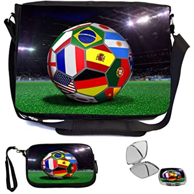 Rikki Knight All Team Flags Football Soccer Ball Design COMBO Multifunction Messenger Laptop Bag - with padded insert for School or Work - includes Wristlet & Mirror