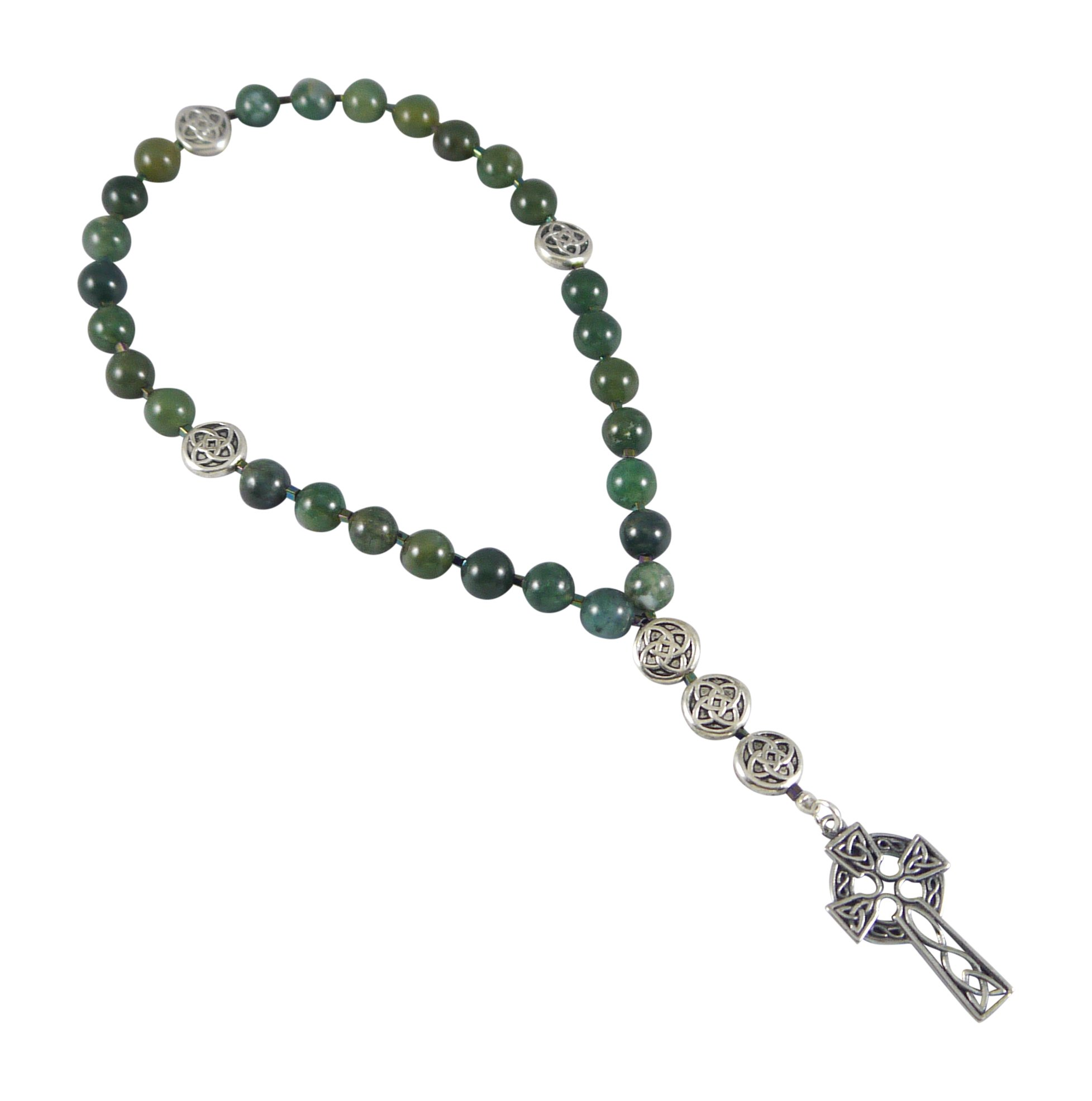 Kit Johnson Designs Anglican Rosary Beads, Moss Agate, Celtic Cross, Prayer Bag, Instruction Booklet