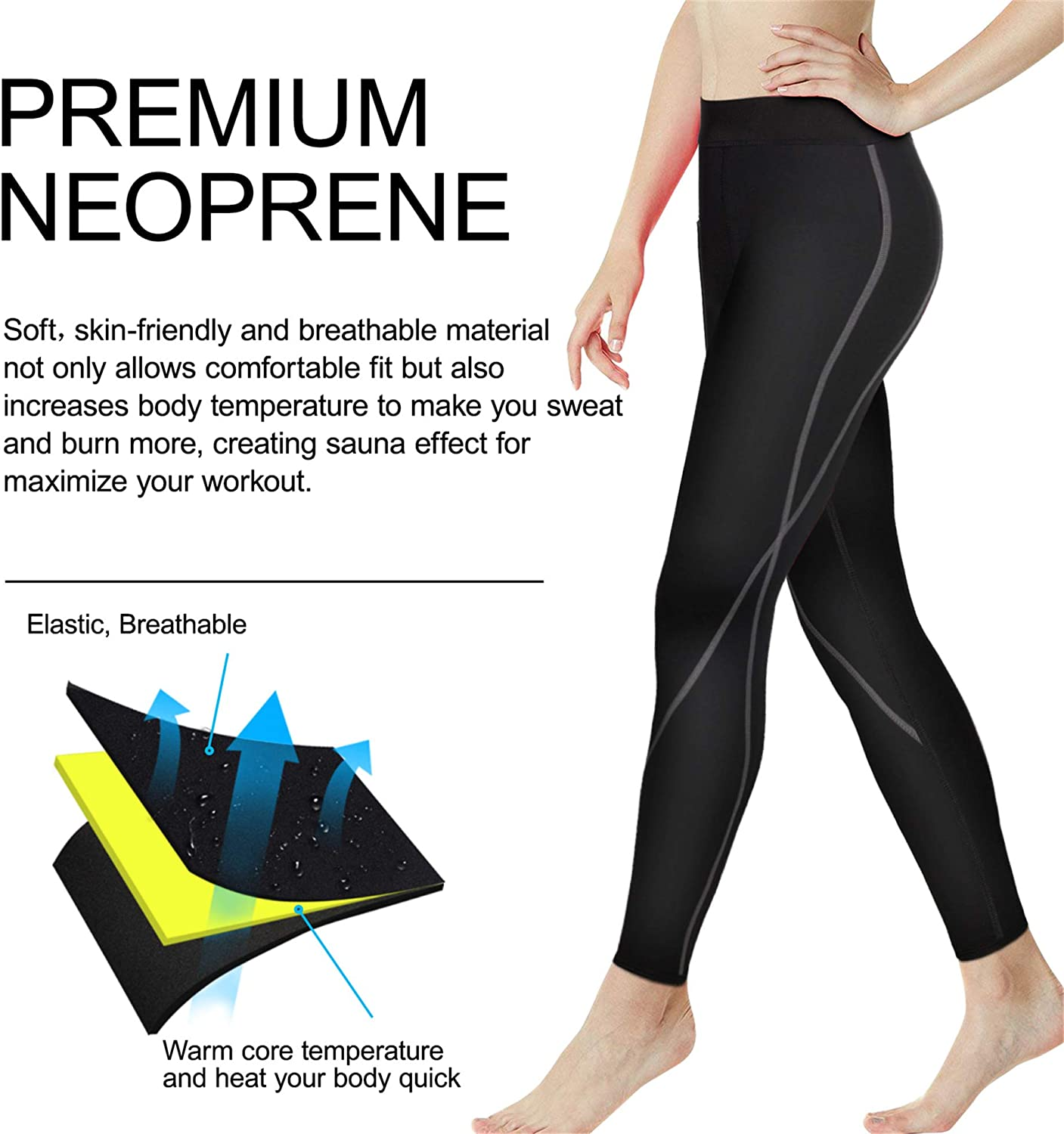 Wonderience Sauna Suit for Men Sauna Shorts Sweat Slimming Neoprene Waist Trainer Weight Loss Hot Shaper Workout Pants Shorts Thigh