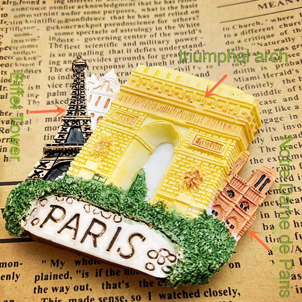 Magnets pour R/éfrig/érateur Autocollants Paris Tour Eiffel Arc De Triomphe Notre Dame Artisanat DIY Autocollants