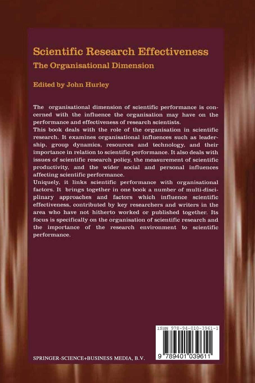 Epub Scientific Research Effectiveness The Organisational Dimension