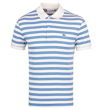 7b1f43849 Lacoste Cream   Blue Stripe Short Sleeve Polo Shirt-EXTRA SMALL ...
