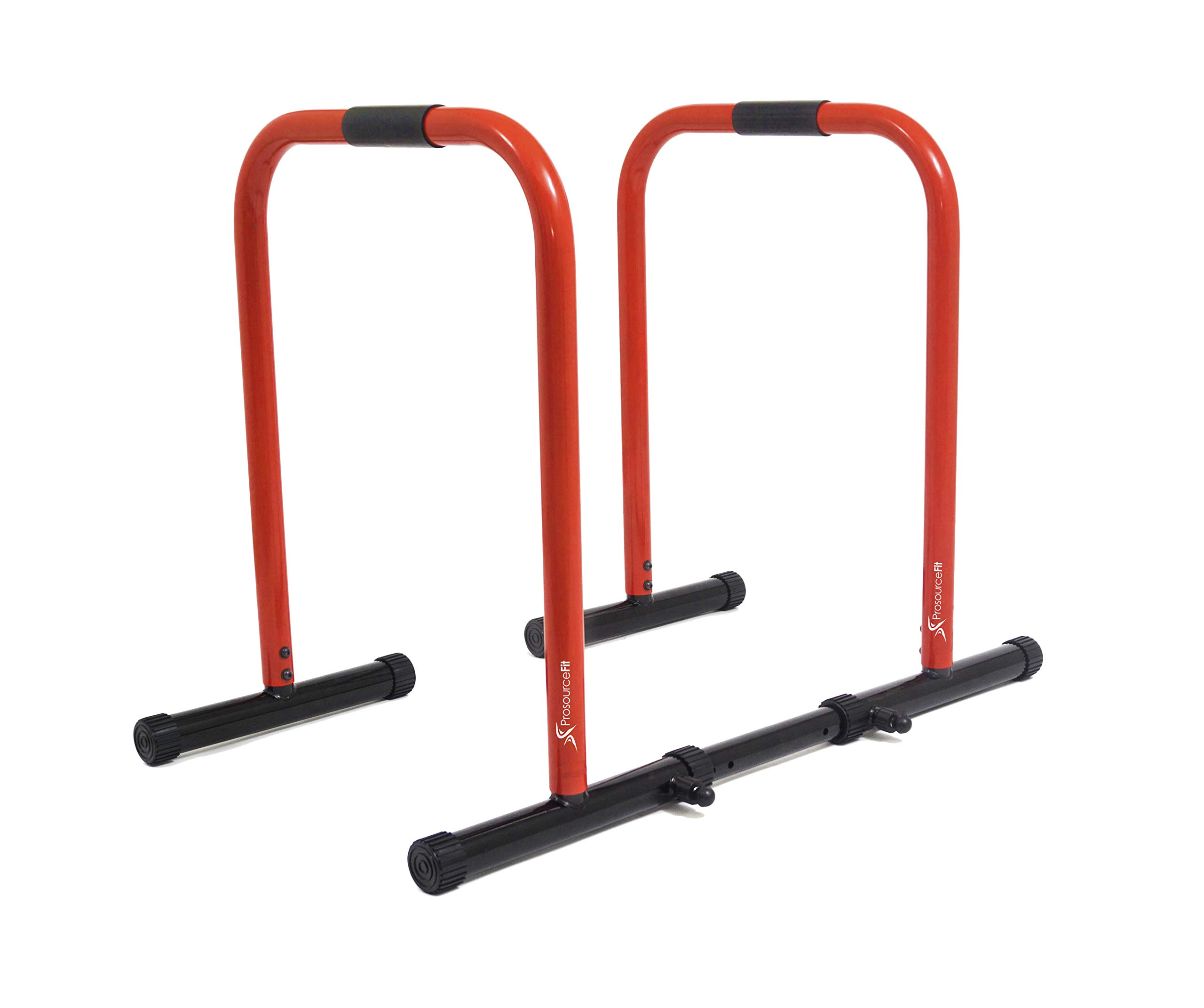 ProsourceFit Dip Stand Station, Heavy Duty Ultimate Body Press Bar with Safety Connector for Tricep Dips, Pull-Ups, Push-Ups, L-Sits, Red by ProsourceFit (Image #1)
