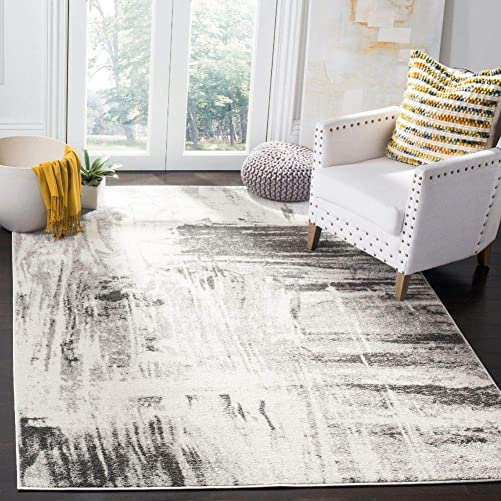 Safavieh Adirondack Collection ADR133C Ivory and Grey Modern Abstract Area Rug 5'1″ x 7'6″