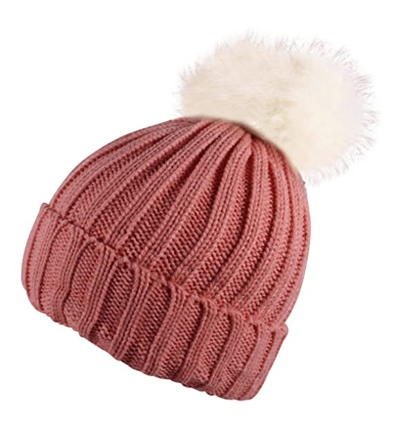 95dbdc74c Itzu Boys Ribbed Beanie Hat Chunky Detachable Faux Fur Bobble Pom Turn up  Youth Kids Many Colours!