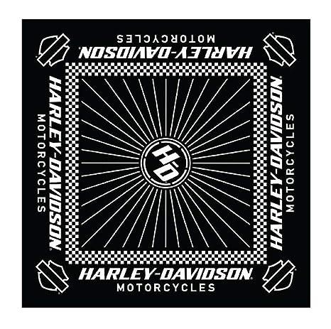 Harley-Davidson Men's Ignition Checkered Flag Bandana - 24 x 24 in BA33488 Black