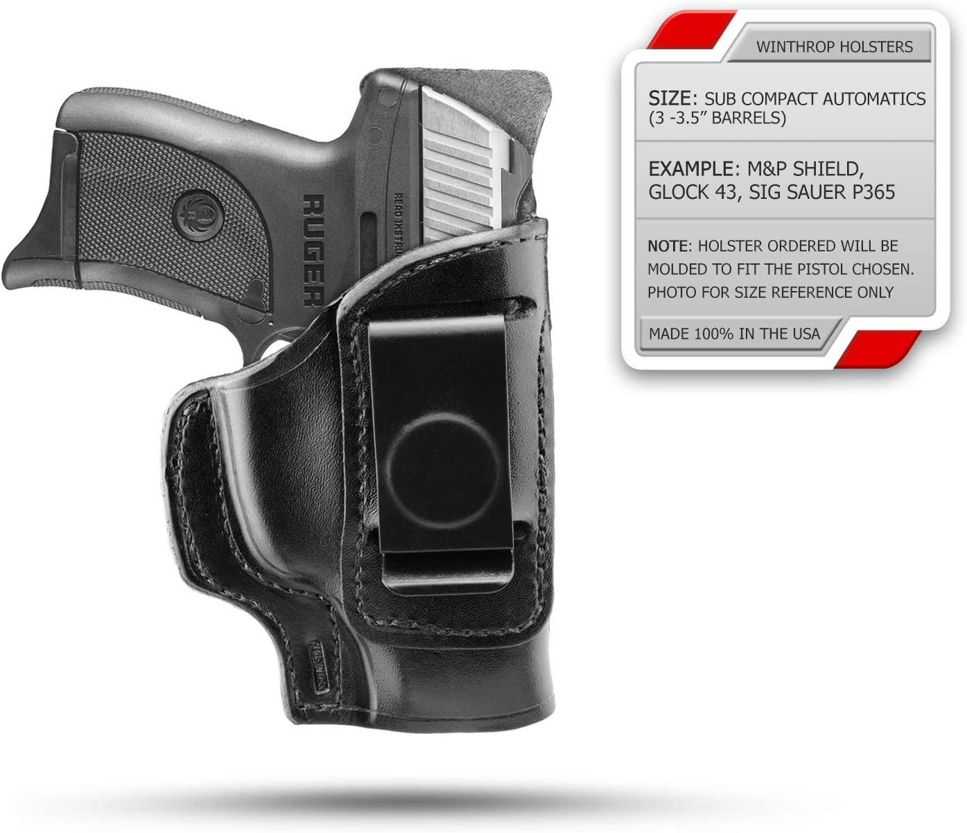 """S/&W M/&P 9mm Compact Compact 3.5/"""" IWB Shield Single Spring Clip Holster R//H Black"""