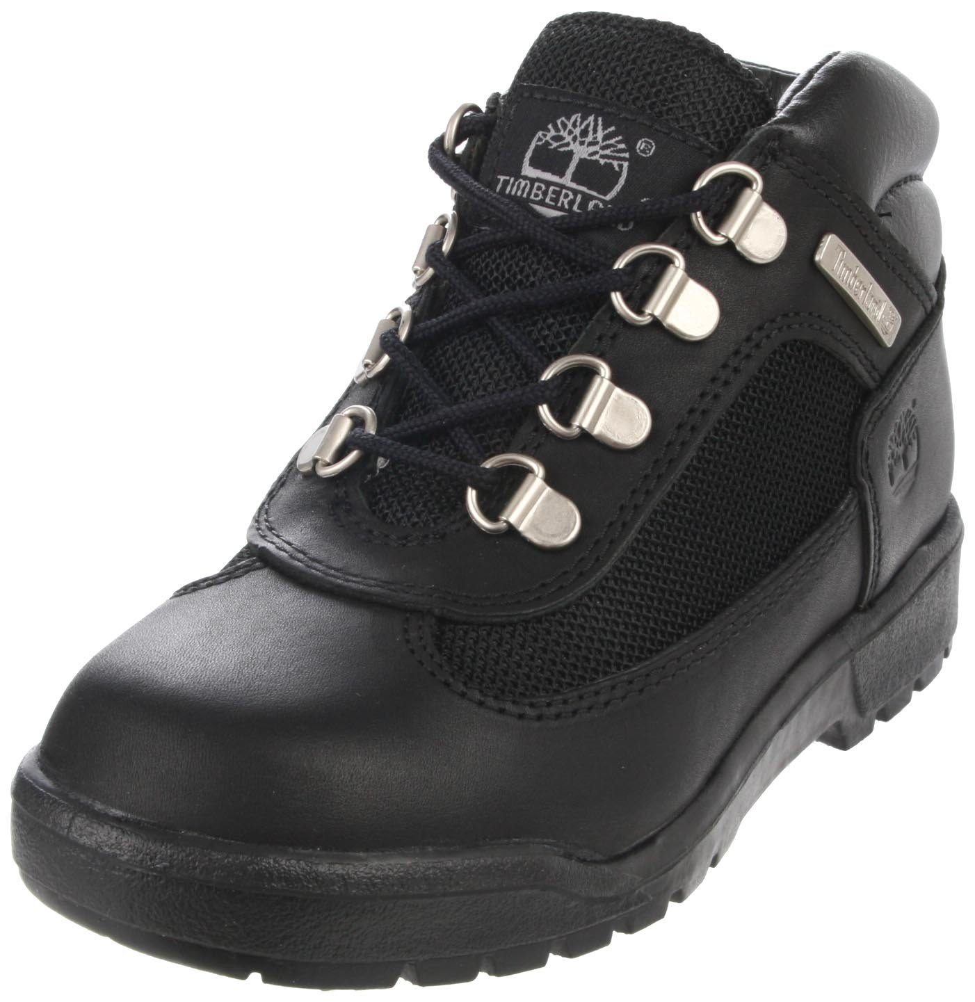 Timberland Leather and Fabric Field Boot (Toddler/Little Kid/Big Kid),Black,4.5 M US Big Kid