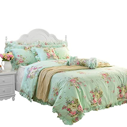 FADFAY Green Floral Duvet Cover Sets Vintage Flower Printed Bedding Hypoallergenic 100% Cotton Designer Bedding Set 3 Pieces, 1duvet Cover & 2pillowcases (Queen Size, Ruffle Style)