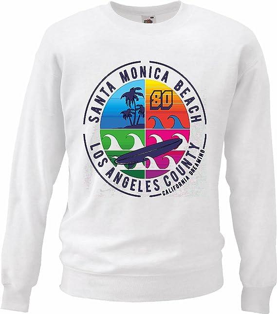 Sudaderas Suéter Santra Monica Beach LOS Angeles Califonia EE.UU. AMÉRICA Estados Unidos DE Surf Surfers Paradise Surf Surf Maestro en Blanco: Amazon.es: ...