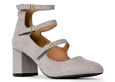 be20e5a58cba1 J. Adams 3 Strap Mary Jane Heel Pumps -Buckled Strappy Low Block Heel -