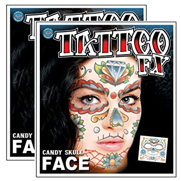 11aed8bb4 Amazon.com : Day of the Dead Sugar Candy Skull Full Face Temporary Tattoo  Kit - Pack of 2 Complete Kits : Beauty