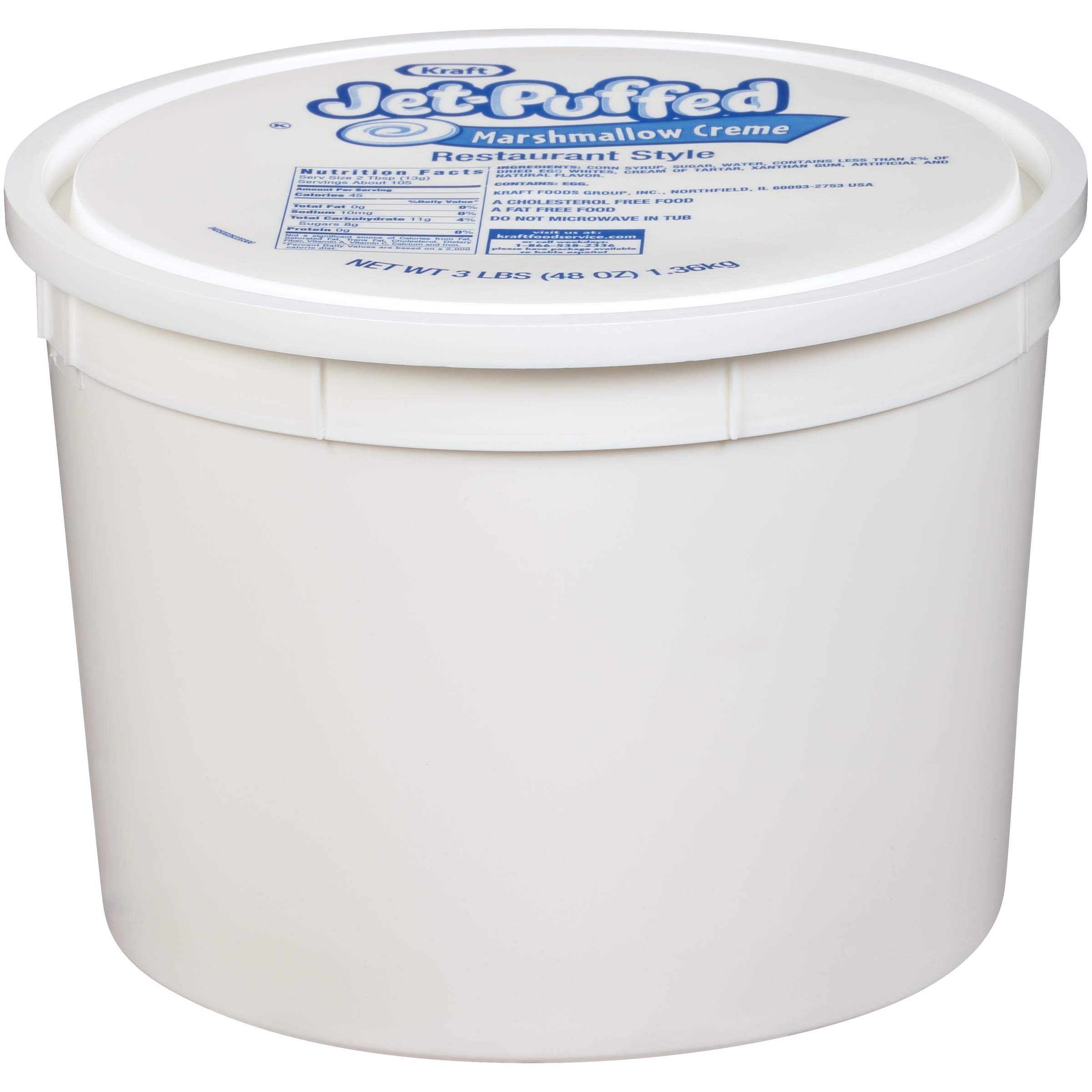 Jet Puffed Marshmallow Creme Bulk (3lbs Pails, Pack of 6)