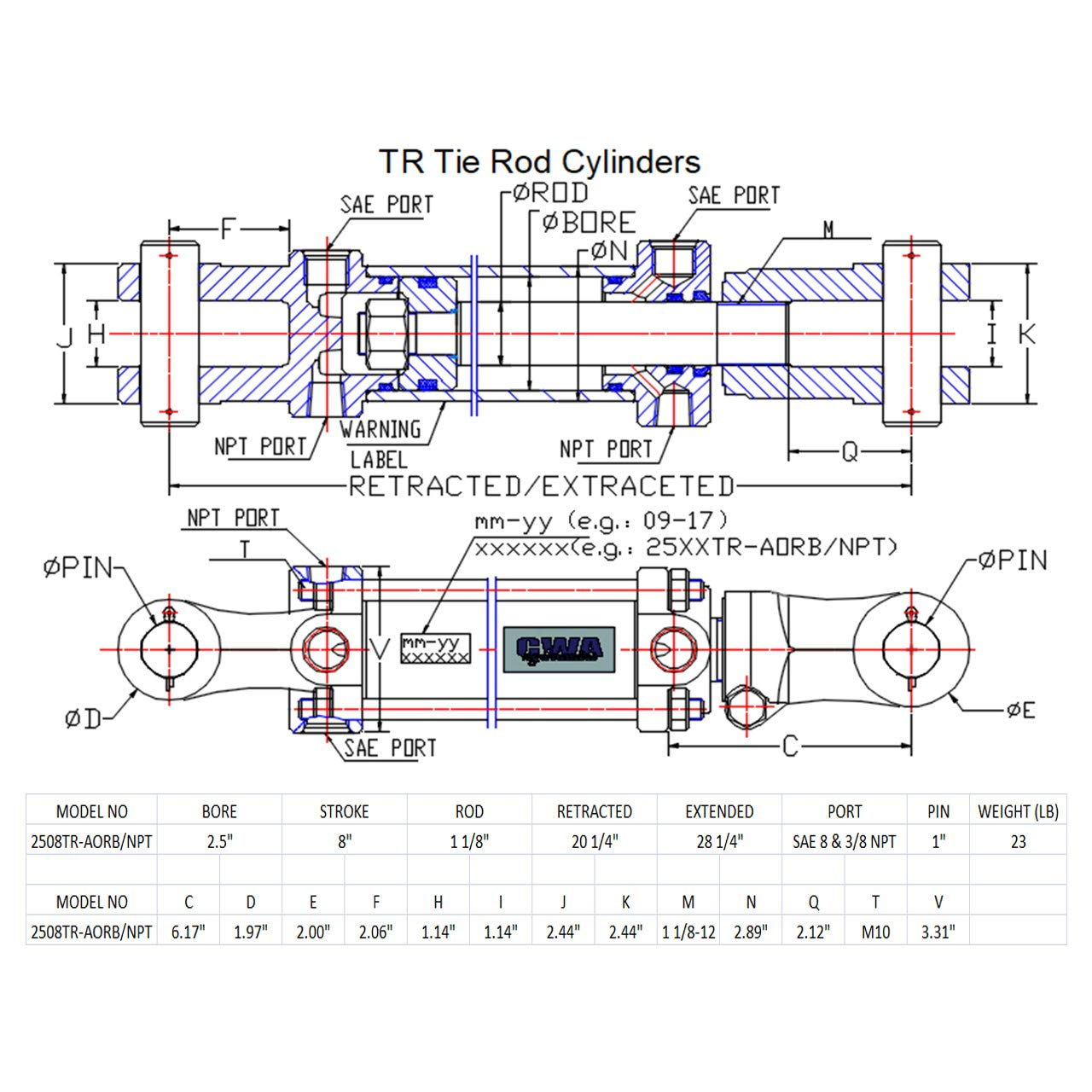 CWA Hydraulics TR Tie Rod Hydraulic Cylinder 2 1//2 Bore x 18 Stroke x 1 1//8 Rod x 2500 PSI Port SAE 8 and 3//8 NPT
