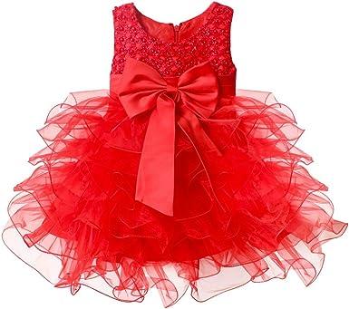 FEESHOW Baby Girls' Ruffle Flower Princess Wedding Birthday Party Dress Baptism Christening Gown