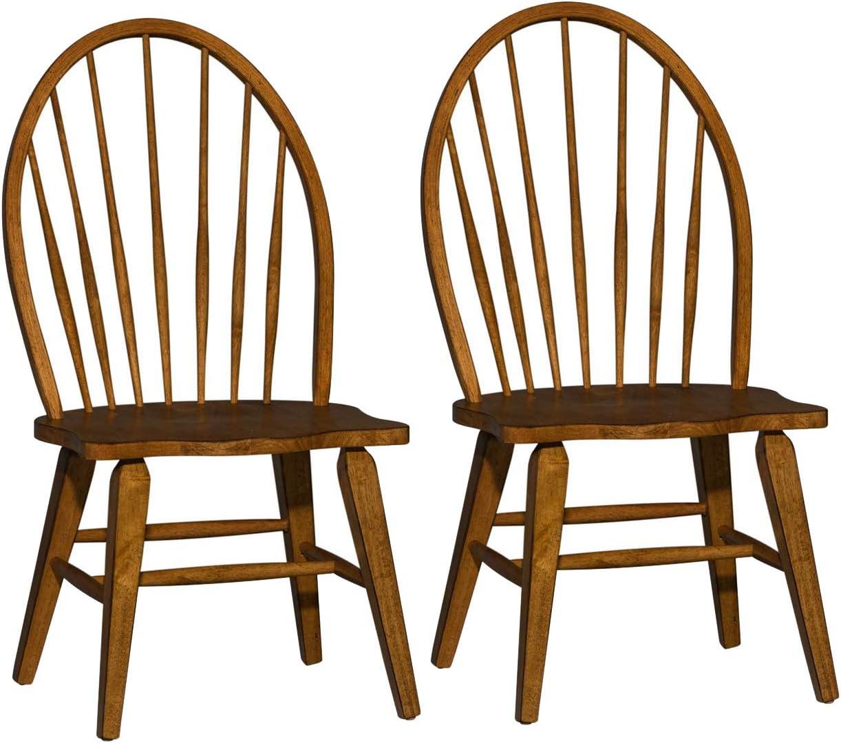 Liberty Furniture Industries Set of 2 Hearthstone Ridge Windsor Back Side Chair, Dark Brown