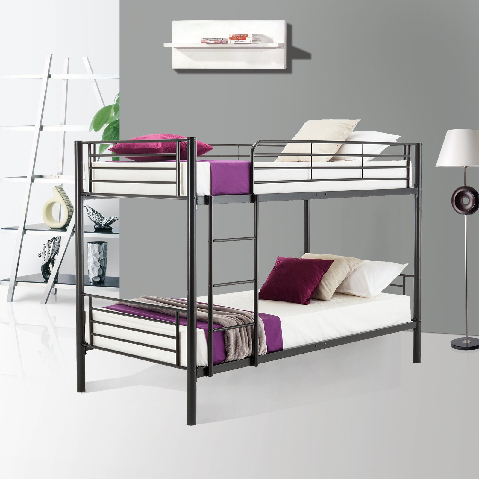 Mecor Metal Bunk Bed Twin Over Twin - with Removable Ladder and Guard Rail - Space Saving Design - Easy Assembly - Black