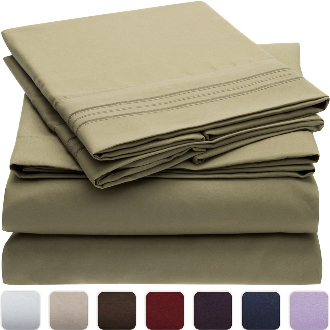 Mellanni Bed Sheet Set - Brushed Microfiber 1800 Bedding King, Olive Green