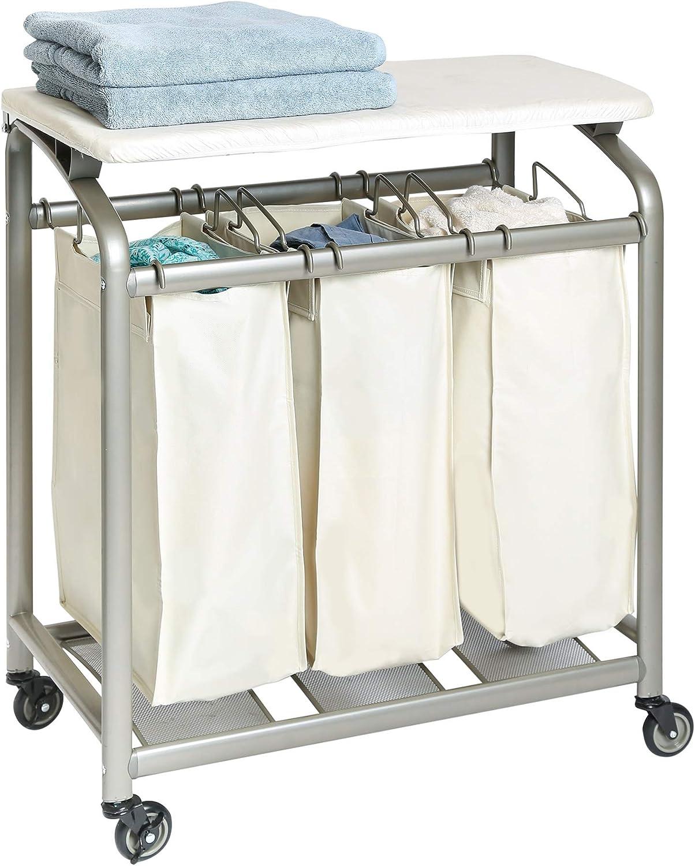 - Amazon.com: Seville Classics Mobile 3-Bag Laundry Hamper Sorter