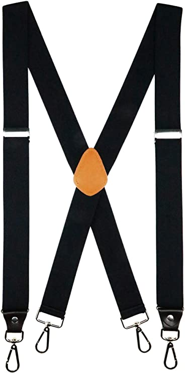 Romanlin Suspenders for Men with Hooks on Belts Heavy Duty Big and Tall