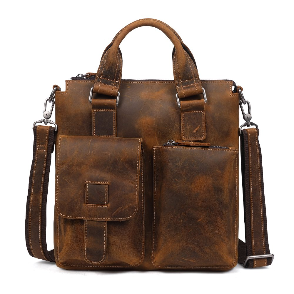 Vintage Crazy Horse Genuine Leather Briefcase Handbag Shoulder Bag for Men (brown)