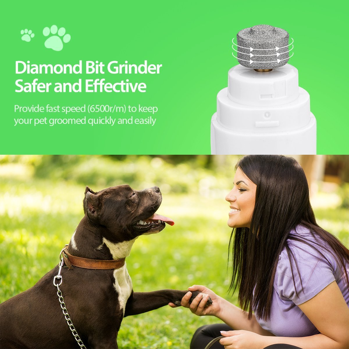 Lima de uñas eléctrica para mascotas, Novatech Suave patas premium ...