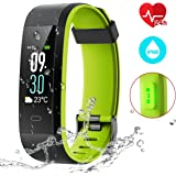 Fitness Tracker [Premium Version], CHEREEKI Colour Screen Activity Tracker with 24-Hours Heart Rate Monitor/ IP68 Waterproof (Swimming Supported)/ 14 Exercise Modes/ Sleep Monitor/ Weather Forecast/ SMS/ Messages for Facebook WhatsApp Twitter and etc, For Android and iOS