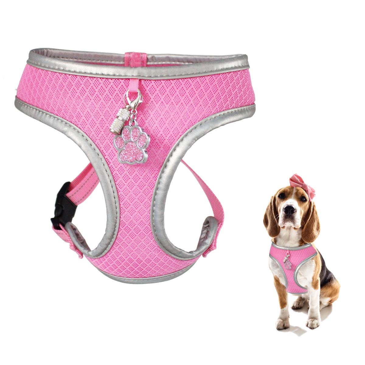 WONDERPUP Reflective Dog Cat Harness No Pull Soft Mesh Adjustable Safe Harness for Small and Medium (M, Pink)