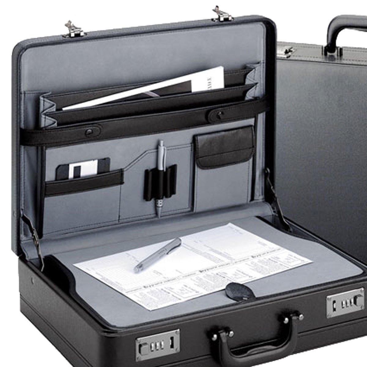 Aktenkoffer von D& N-Lederwaren - extra breit - Schreibplatte - 46x33x12/14cm - Dehnfalte - shwarz