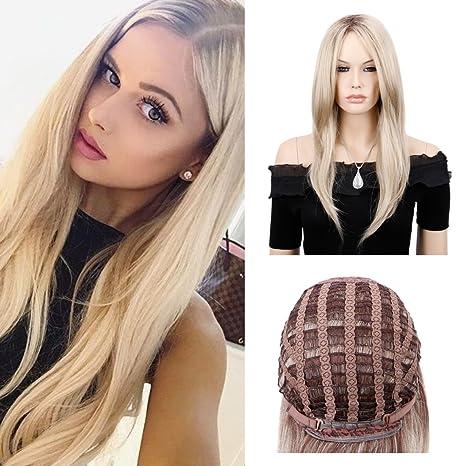 queentas Natural recto Ash Rubio Ombre peluca con Bang laterales para mujer sintético marrón oscuro raíces