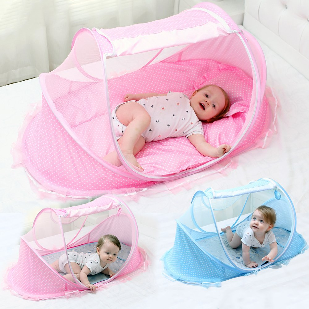 LUCKSTAR Baby Travel Bed - Fold Baby Bed Mosquito Net Netting Play Tent House for Baby/Kids (Blue) 1