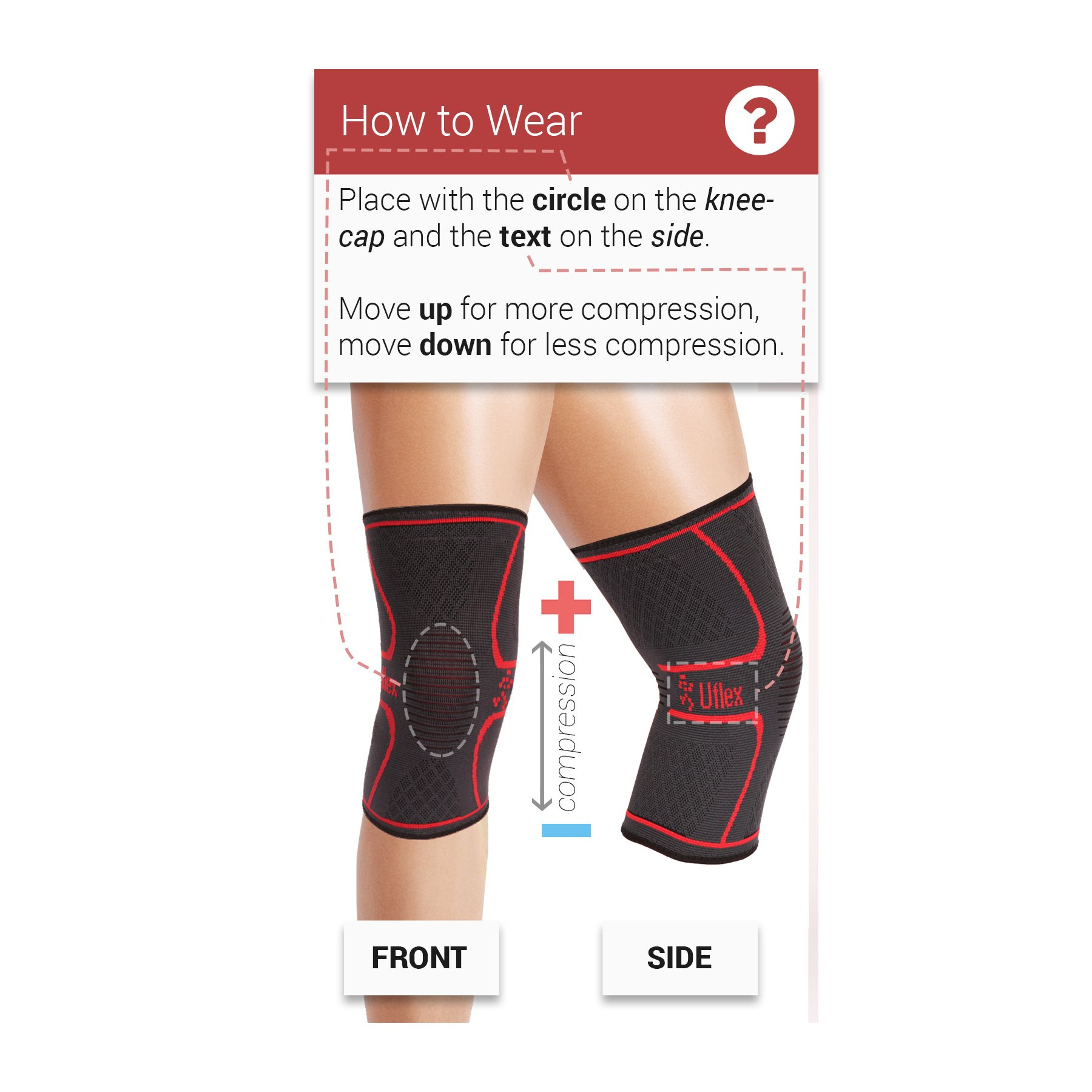 UFlex Athletics Knee Compression Sleeve Support for Running, Jogging, Sports, Joint Pain Relief, Arthritis and Injury Recovery-Single Size Large by UFlex Athletics (Image #3)