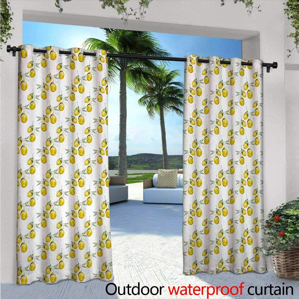 BlountDecor Nature Balcony Curtains W84 x L96 Lemon Tree Branches Agriculture Kitchen Lemonade Citrus Figure Graphic Art Outdoor Patio Curtains Waterproof with Grommets Olive Green Yellow