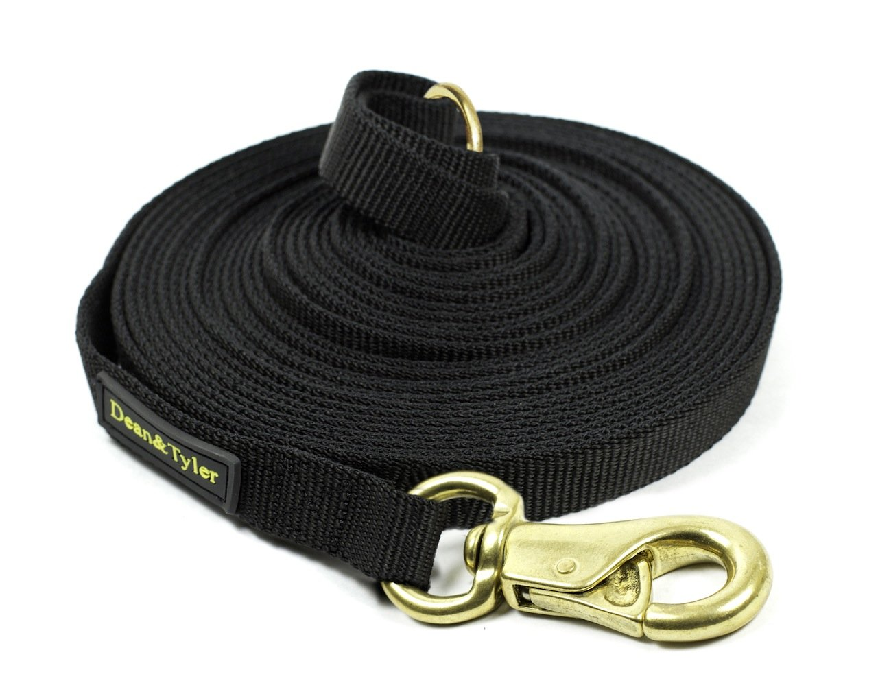 Dean & Tyler Track Massive Brass Snap Single-Ply Nylon Leash with Ring on Handle, 135-Feet by 3 4-Inch, Black