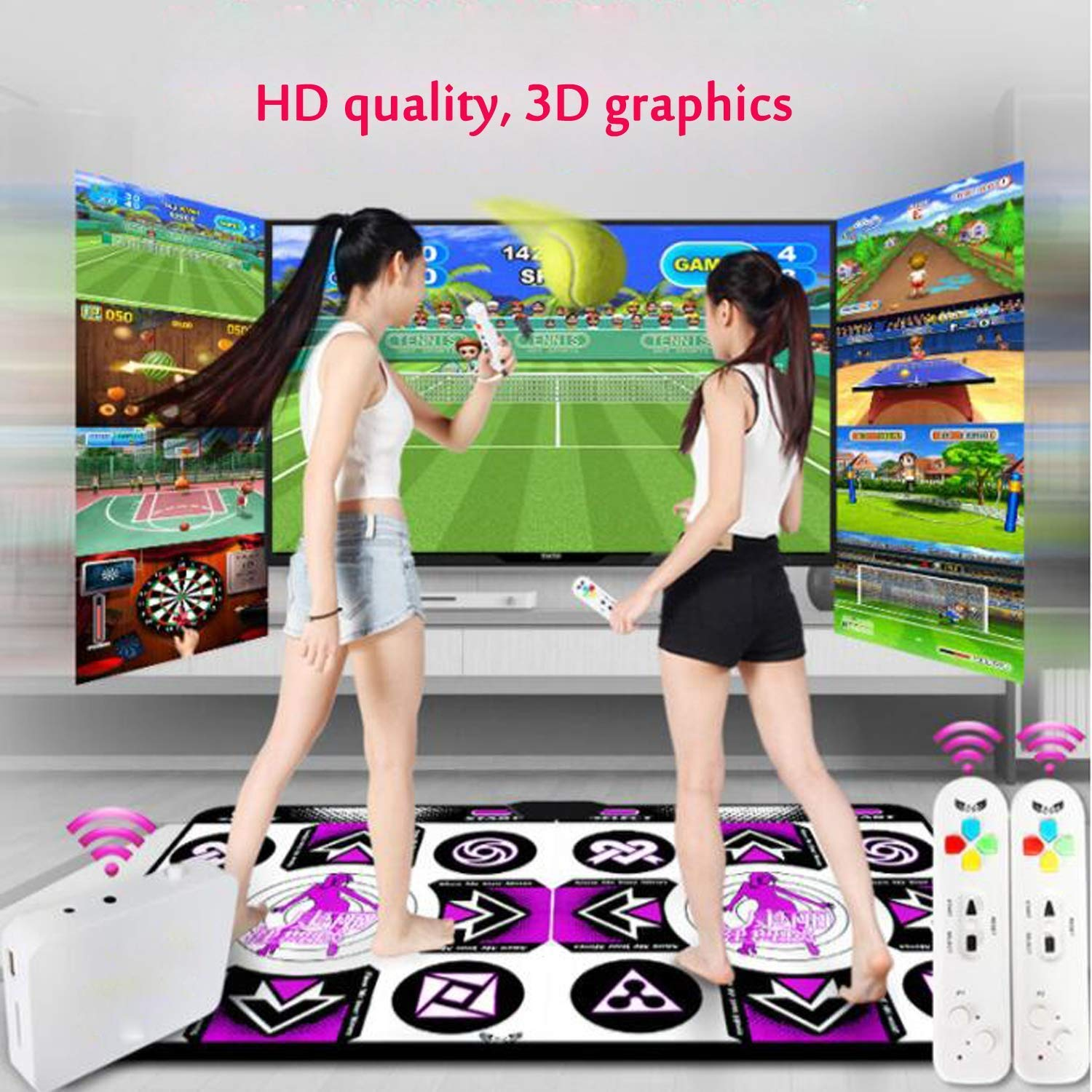 rui @ Double Wireless Dance Game Mat Pad Blanket, Somatosensory Game Console Dance Machine, Suitable For Children And Adults To Connect Tv And Computer Weight Loss Exercise Game Console(English Ver by RUIJING (Image #2)