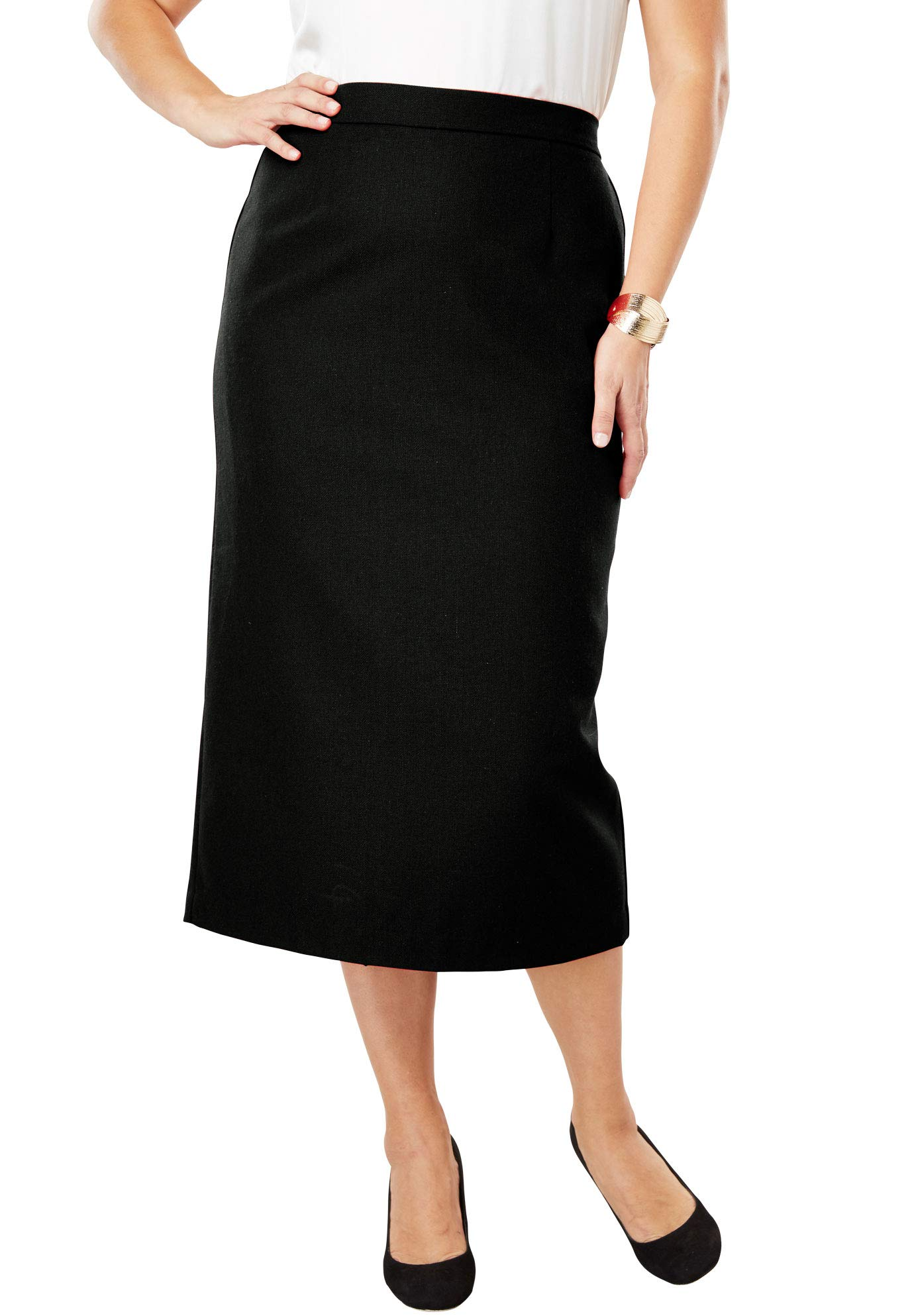 Jessica London Women's Plus Size Wool-Blend Midi Skirt - Black, 18 W by Jessica London