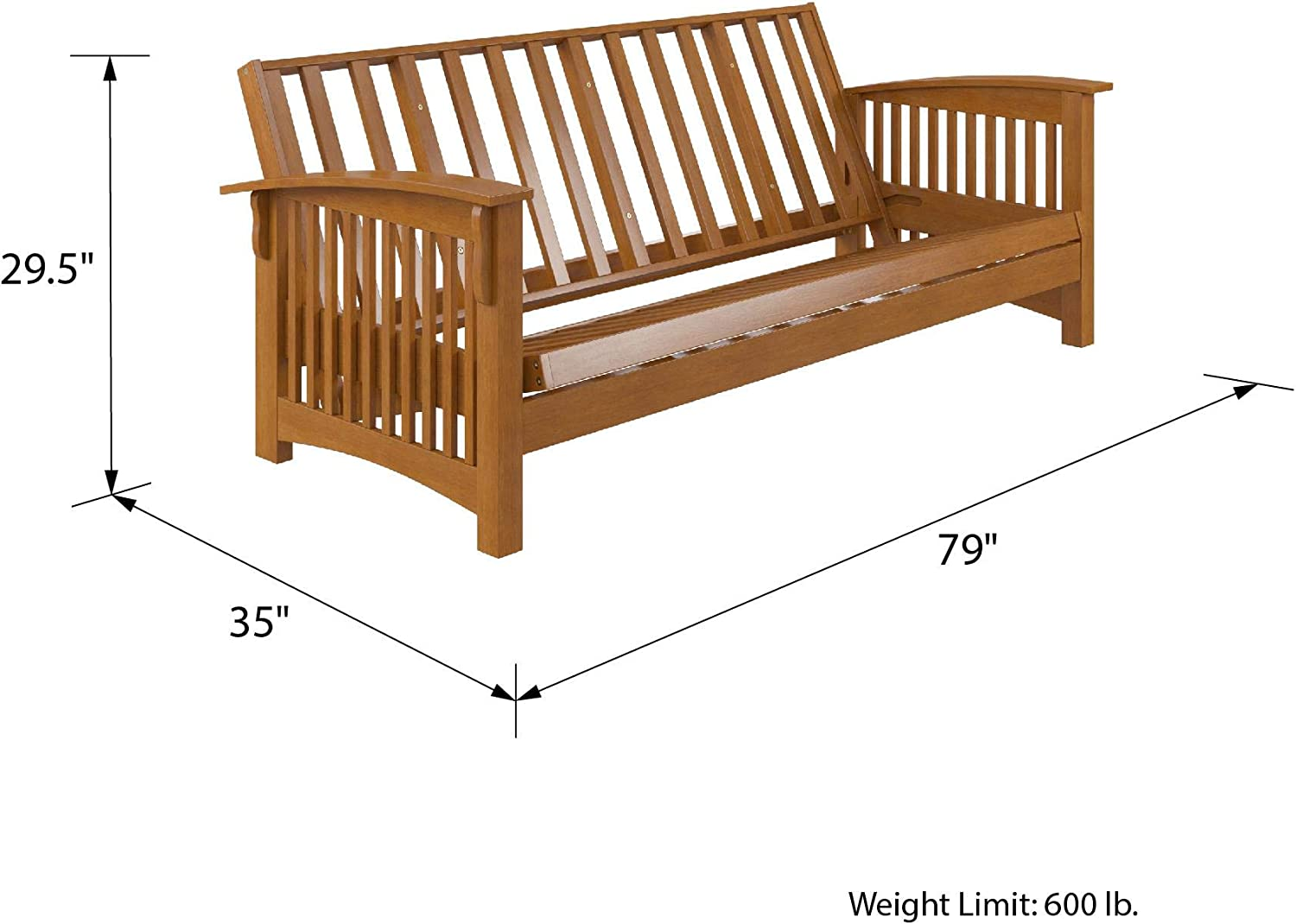 Full Size Sofa Bed and Couch with Arms DHP Celina Wood Frame Natual Natural Oak Futons