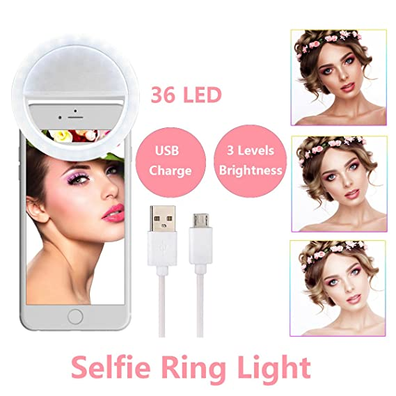 best service fe110 95c3f (Latest Edition) Selfie Ring Light Circle USB Charge Selfie Light 36 LED  Selfie Light Ring for iPhone X, 7, 6, 8, Samsung Smart Phones 3 Levels ...