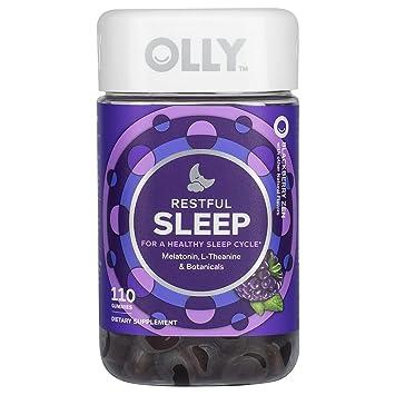 OLLY Restful Sleep Gummy Supplement with Melatonin & L-Theanine Chamomile, BlackBerry Zen,