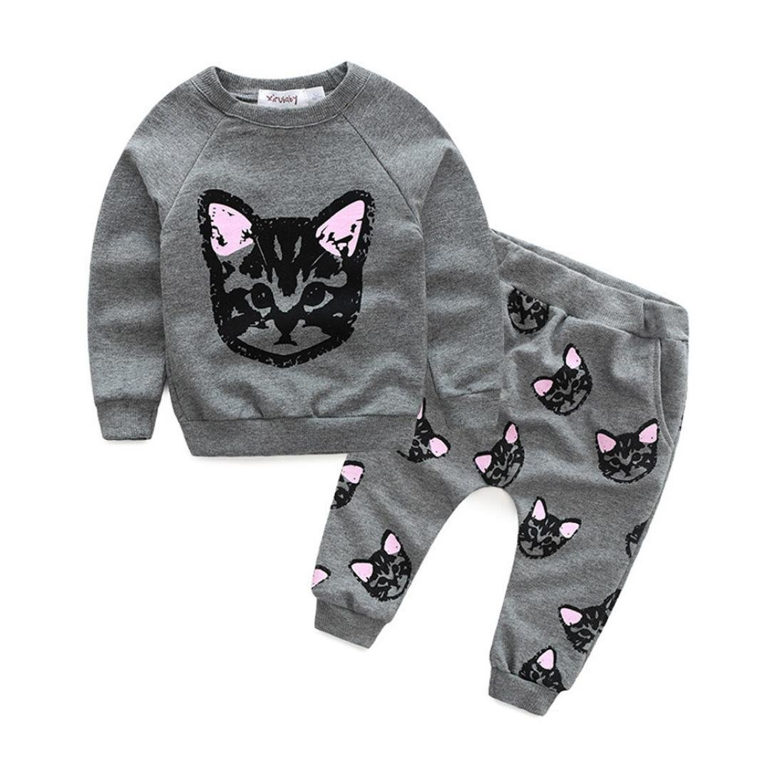 Tenworld Baby Girl 2pcs Set Outfit Cats Print Long Sleeve Tracksuit + Long Pants
