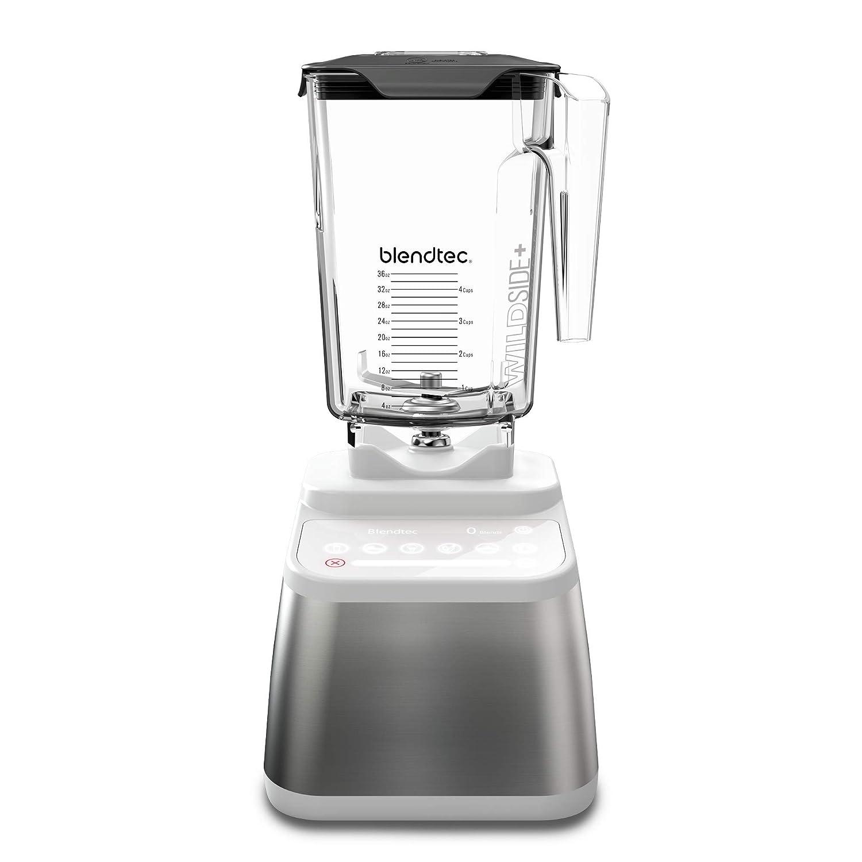 Blendtec Designer 725 Blender - WildSide+ Jar (90 oz) - Professional-Grade Power - Self-Cleaning - 6 Pre-Programmed Cycles - 100-Speeds - Sleek and Slim - Stainless Steel/White