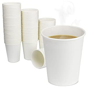 [200 Pack] 8 oz Disposable White Paper Cups - On the Go Hot and Cold Beverage All-Purpose Sampling Portion Cup for Coffee, Espresso, Cortado, Latte, Cappuccino and Tea, Food Grade Safe