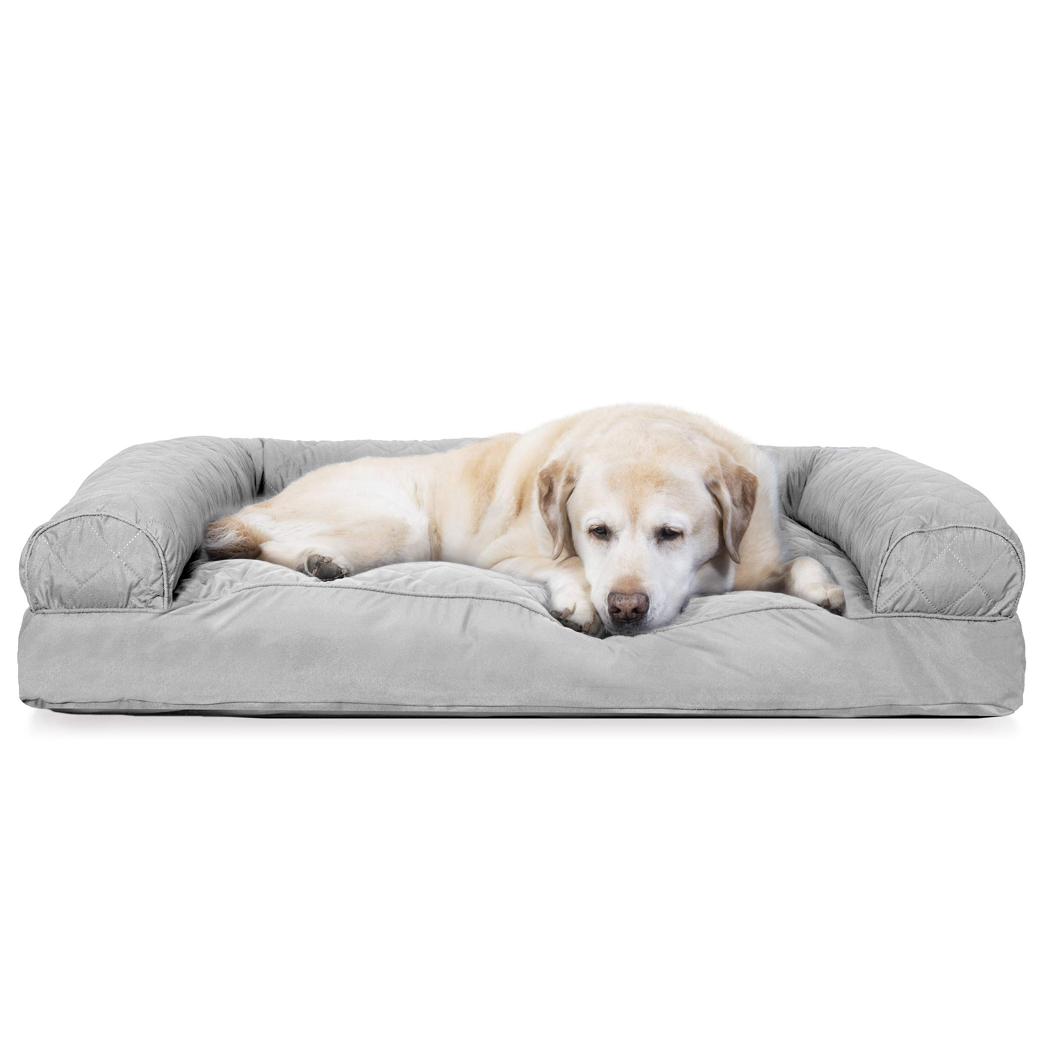 Furhaven Pet Dog Bed | Quilted Pillow Cushion Traditional Sofa-Style Living Room Couch Pet Bed w/ Removable Cover for Dogs & Cats, Silver Gray, Jumbo by Furhaven