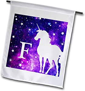 3dRose InspirationzStore - Monograms - Letter F Monogram Unicorn Purple Space Stars Personalized Initial F - 12 x 18 inch Garden Flag (fl_316406_1)