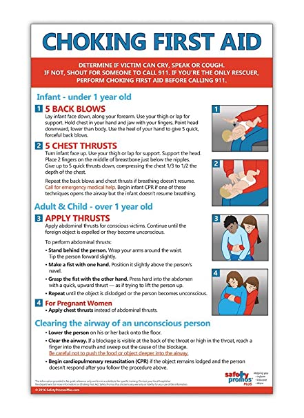 Amazon Com Choking First Aid Poster 12 X 18 In Non