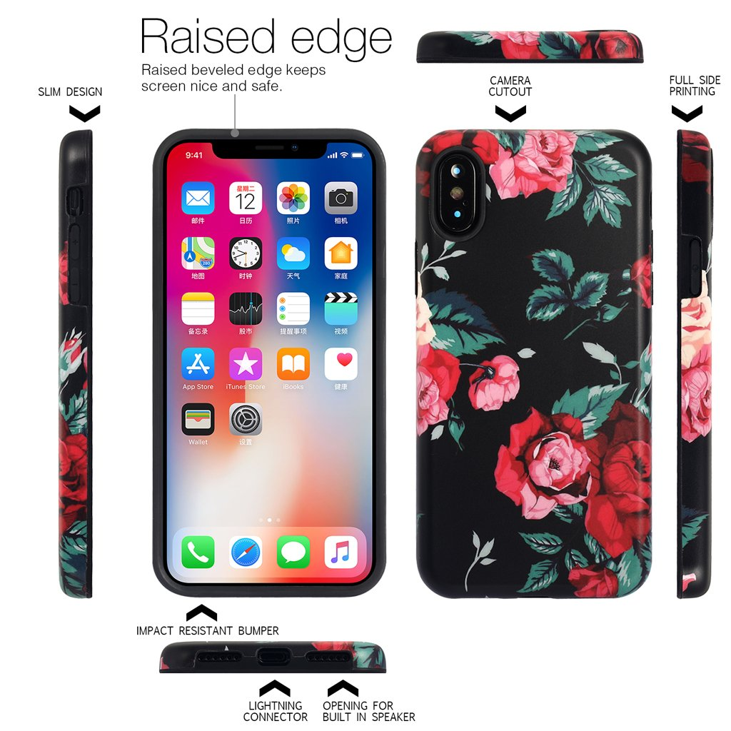 iPhone X Case for Girls,Nasousa Floral Case,IMD Printing Slim-Fit Ultra-Thin Anti-Scratch Shock Proof Dust Proof Anti-Finger Print TPU Case for iPhone x(5.8 inch)F8