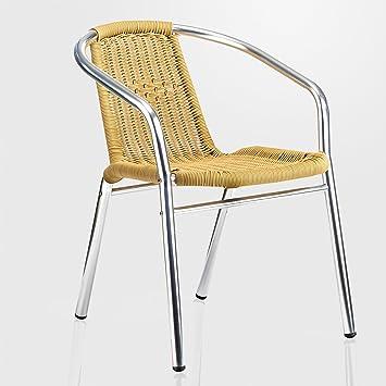 ggm mbel bistro chaise de jardin en rotin beige panier tress tress empilable chaise de jardin - Chaise Exterieur